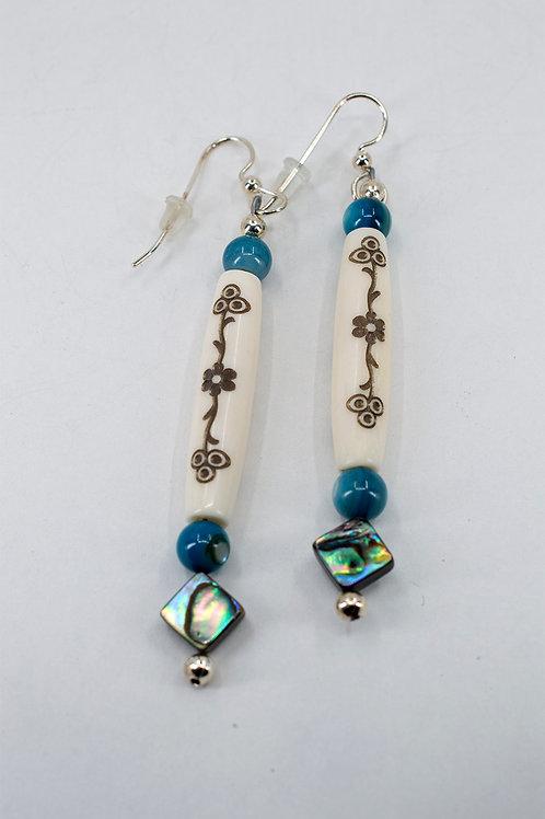 Bone Bead Floral Earrings