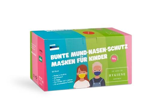 Bunte Mund Nasen Masken für Kinder  50er Pack