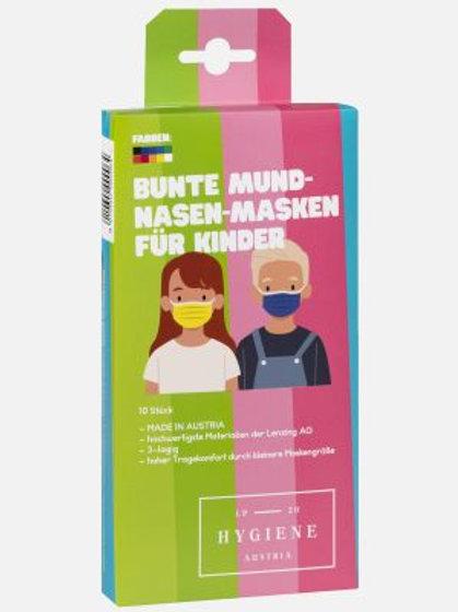 Bunte Mund Nasen Masken für Kinder 10er Pack