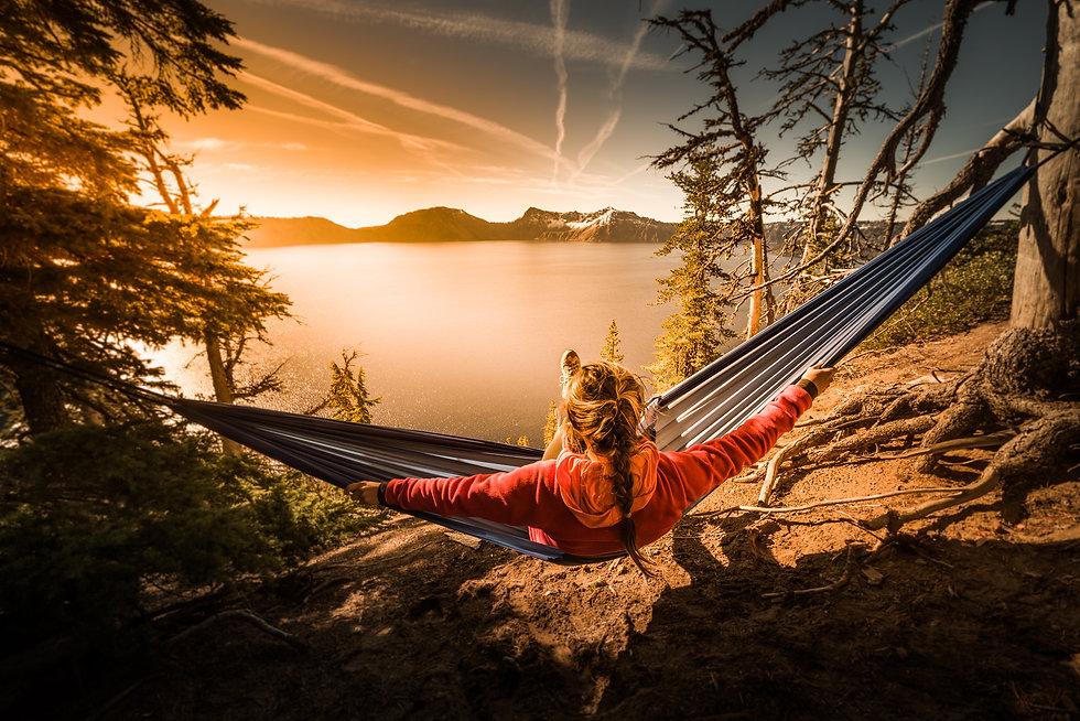 Woman Hiker Relaxing in Hammock Crater Lake National Park Oregon .jpg