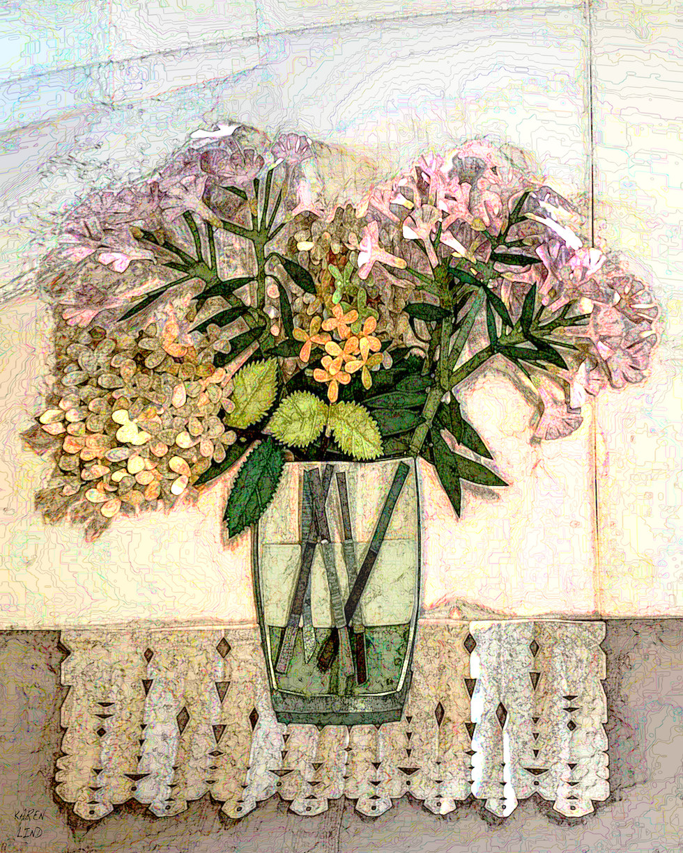 Oleander and Pee Gee Hydrangea in glass