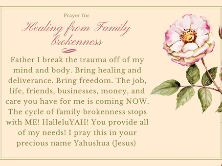 Healing from Family brokenness: (infidelity, divorce, trauma, etc...)