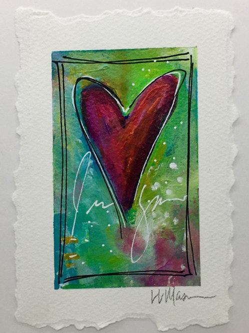 Original Paper Heart 1  Matted For Framing