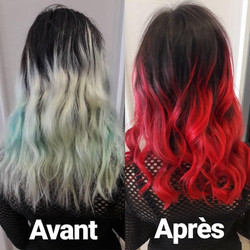 Haircontouring, ombré hair rouge
