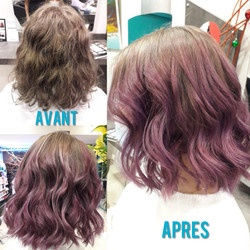 Haircontouring, ombré hair violet