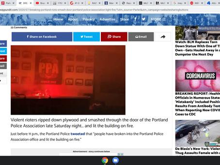 BREAKING: Portland Rioters Smash Through Door of Portland Police Association, Light it on Fire VIDEO