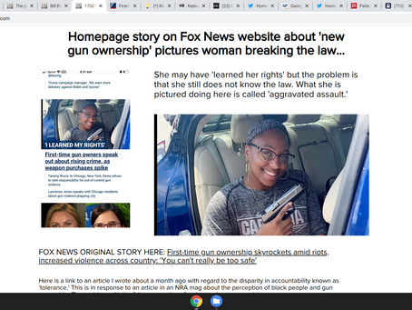 Fox News Homepage about new gun ownership accidentally shows woman breaking the law