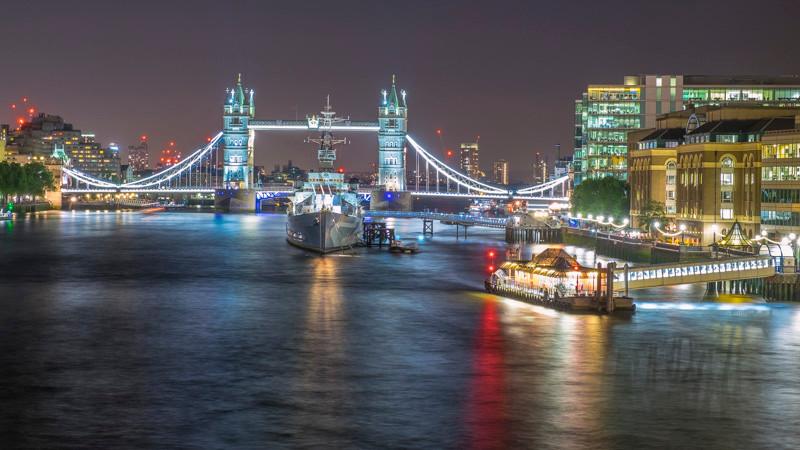 River Thames and Tower Bridge at night
