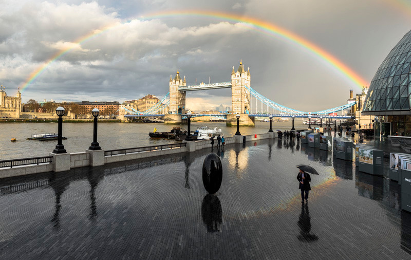 Tower Bridge and a rainbow in London