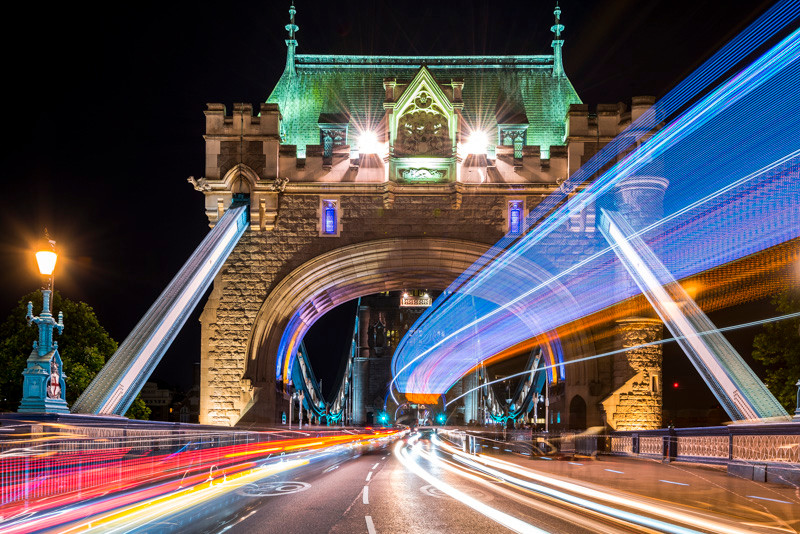 Long exposure light trails at Tower Bridge