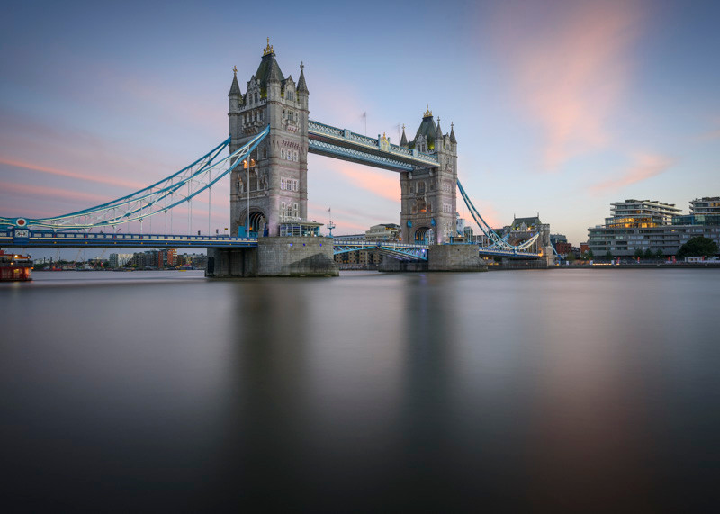 Tower bridge in London long exposure photography using a neutral density filter