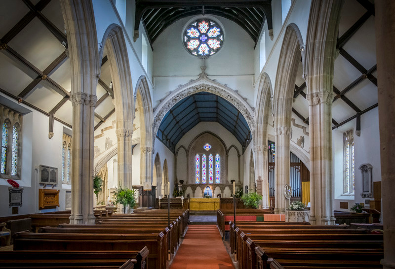 interior of a Anglican church in Cotswolds
