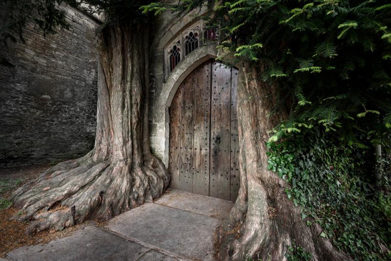 wooden door church entrance