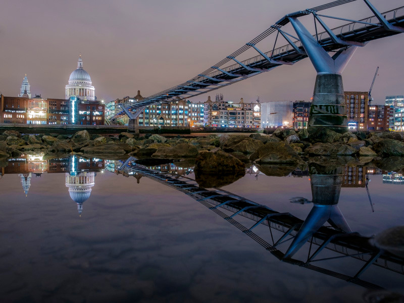 Photograph Millennium Bridge at night in London
