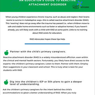 An Educator's Guide to Reactive Attachment Disorder