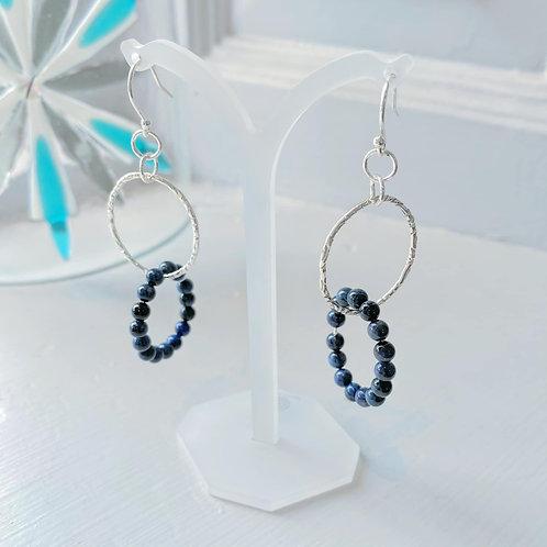 Angela Learoyd - AL122 Interlinked Loop Earrings, Silver and Sodalite