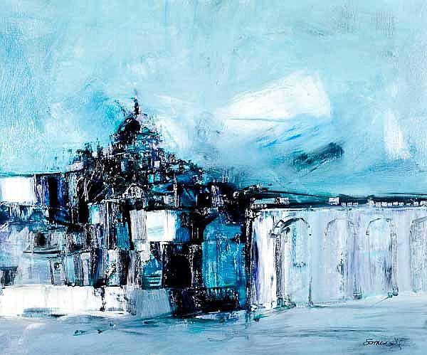 James Somerville Contemporary Scottish Artist - Townscape Oil