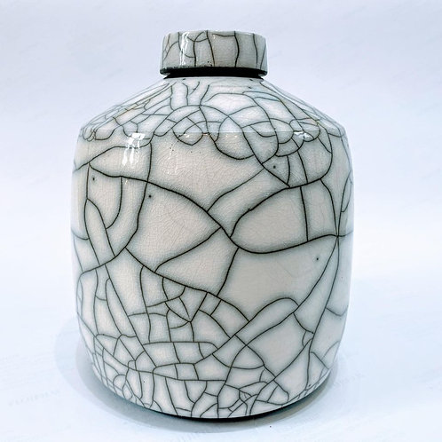 Chris Hawkins Ceramics - No6 Raku White Glazed Large Lidded Ginger Jar