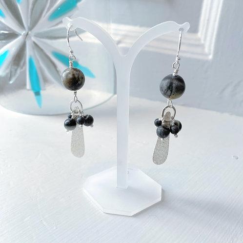 Angela Learoyd - AL129 Teardrop Cluster Earrings, Silver and Picasso Jasper