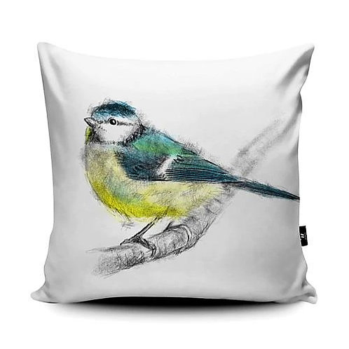 Marsha Luti - Blue Tit on Branch Cushion