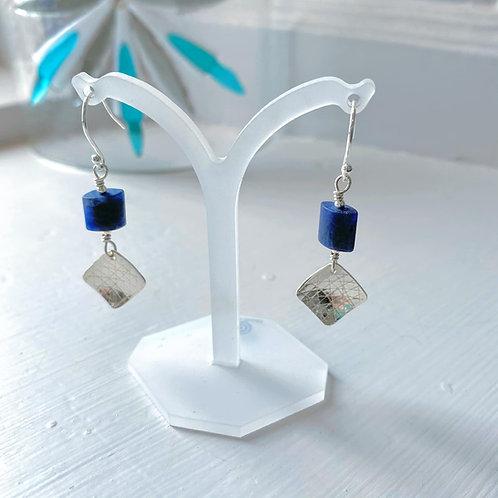 Angela Learoyd - AL119 Square Double Drop Earrings, Silver and Matt Sodalite