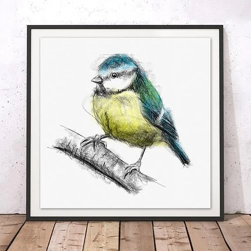 Marsha Luti - Sweet Little Blue Tit Print
