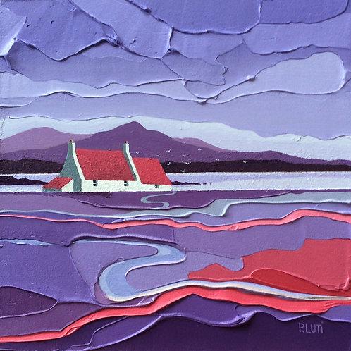 Peter Luti, Contemporary Scottish Art - Gulls Over Purple acrylic painting