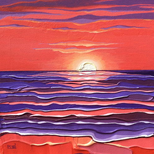 Peter Luti, Contemporary Scottish Art - Vermillion Beach acrylic painting