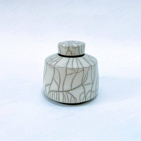 Chris Hawkins Ceramics - No8 Raku White Glazed Mini Ginger Jar