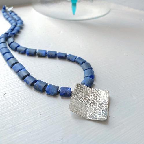 Angela Learoyd - AL117 Square Necklace, Silver and Matt Sodalite