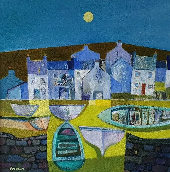 Davy Brown Contemporary Scottish Artist - Harbour Town at Twilight