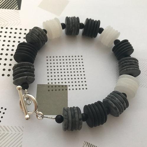hammered slices bracelet - Silver, Onyx, Picasso Jasper & Howlite