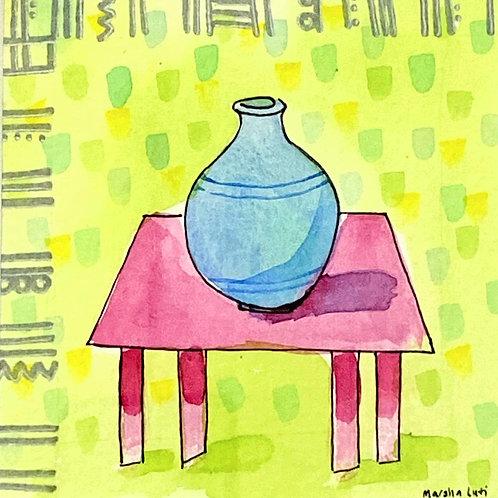 Marsha Luti - Blue Vessel on Pink Table