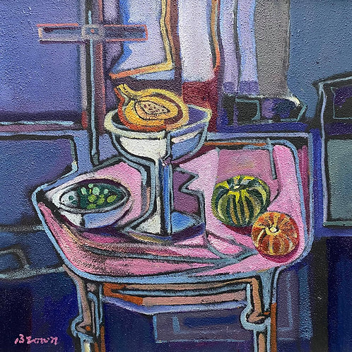 Davy Brown - Still Life on a Pink Table