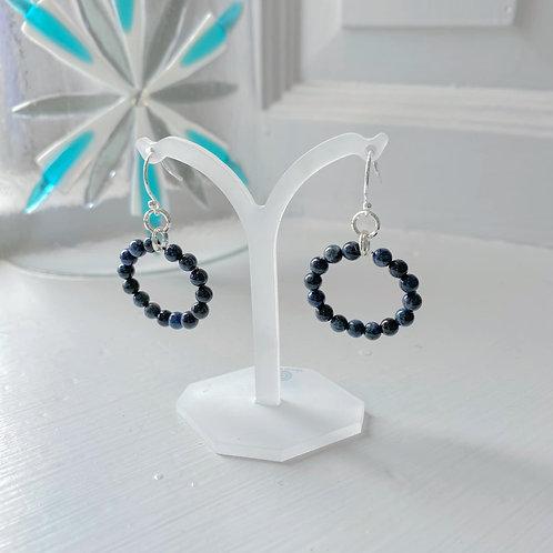 Angela Learoyd - AL126 Loop Earrings, Silver and Sodalite