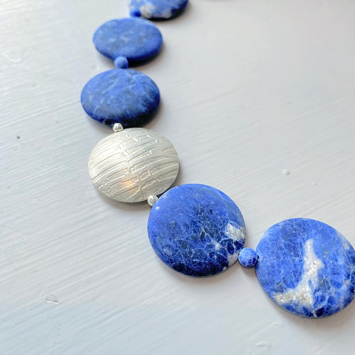 Angela Learoyd - AL123 Coin Necklace, Silver and Sodalite