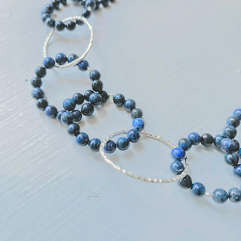 Angela Learoyd - AL121 Interlinked Necklace. Long, Silver and Sodalite
