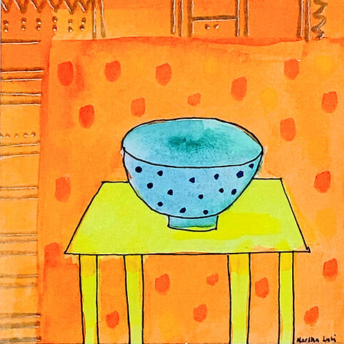 Marsha Luti - Blue Bowl on Yellow Table