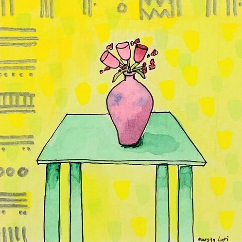 Marsha Luti - Pink Vase on Green Table