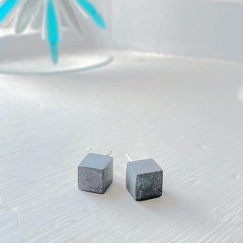 Angela Learoyd - AL132 Cube Earrings, Silver and Grey Jesmonite