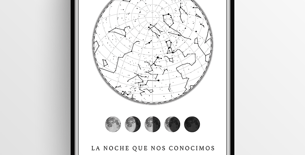 Mapa de Estrellas con Marco: White