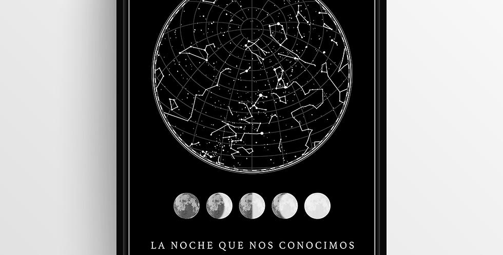 Mapa de Estrellas con Marco: Black