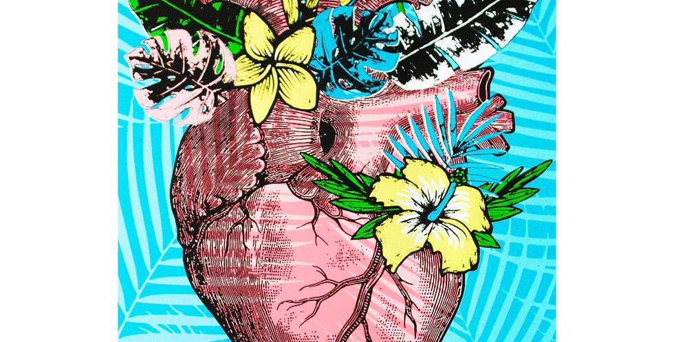 Serigrafía Corazón Tropical Ilustración