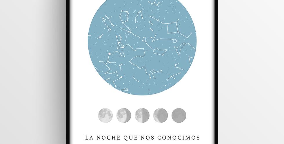 Mapa de Estrellas con Marco: Lunar Mediano