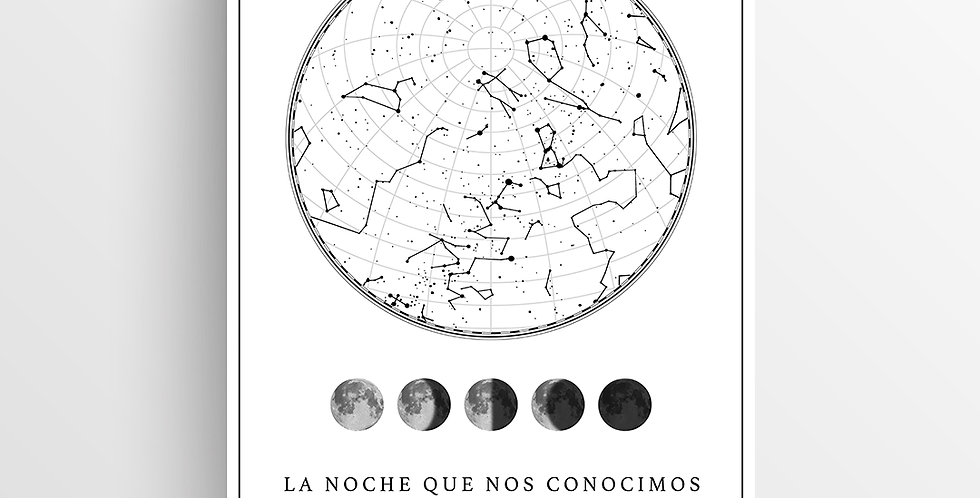 Mapa de Estrellas Impreso: White