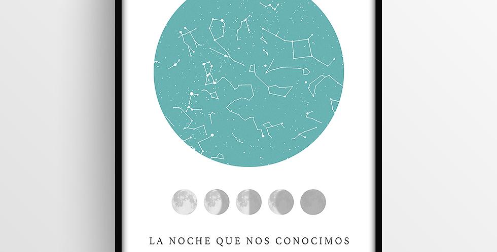Mapa de Estrellas con Marco: Lunar Grande