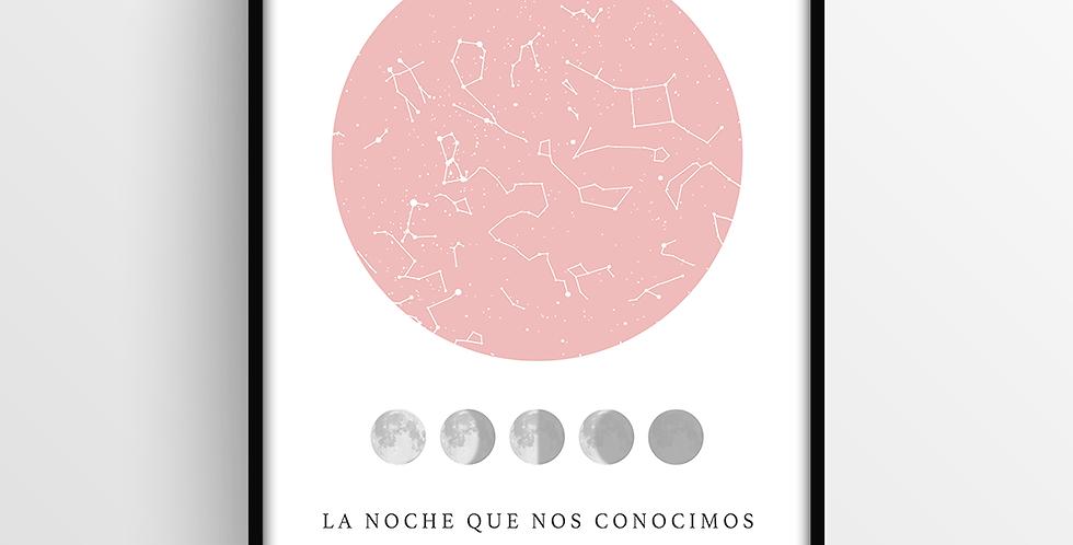 Mapa de Estrellas con Marco: Lunar Chico
