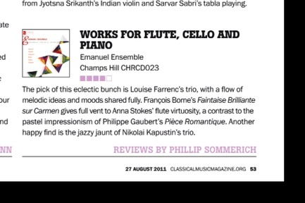 Emanuel Ensemble-Anna Stokes flute review classical music magazine Aug 2011