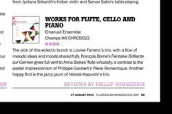 Emanuel Ensemble-Anna Stokes flute review classical music magazine Aug 2011