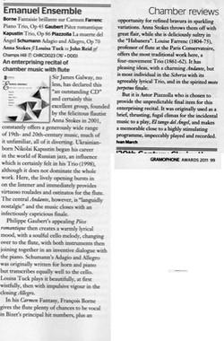 Gramophone Review Oct 2011 - Emanuel Ensemble-Anna Stokes Flute